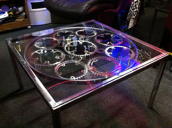 Bike Chain Ring Coffee Table Square