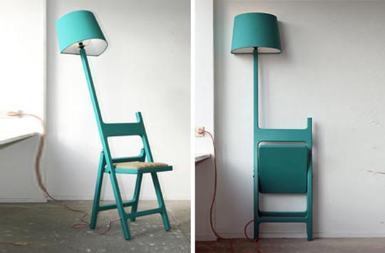 The Poets foldable chair and lamp 1