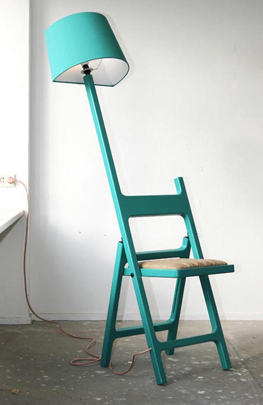 The Poets foldable chair and lamp 2