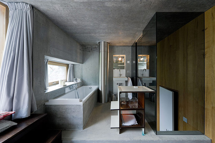 Villa Vals House inside a hill modern bathroom