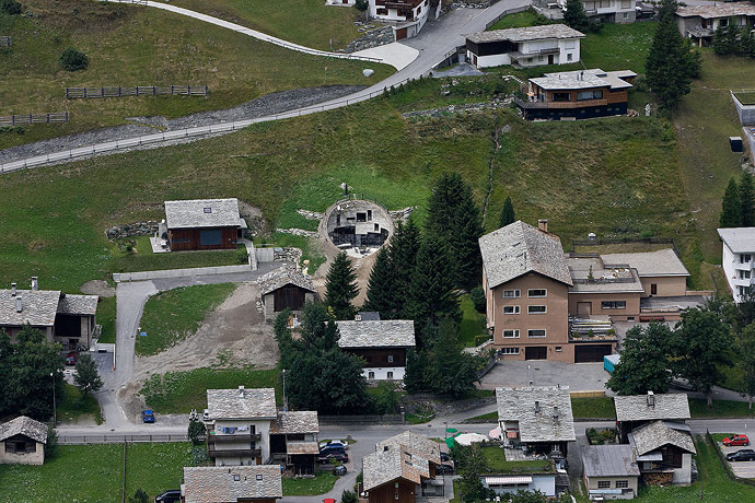 Villa Vals House inside a hill view from top