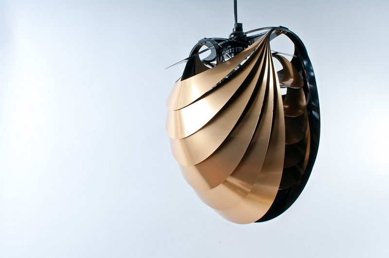 Kinema Pendant Luminaire Gold color By Stuart Fingerhut 2
