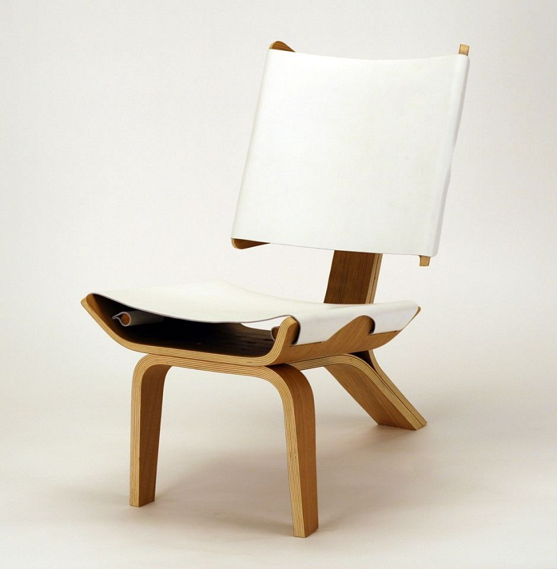 Kurven Chair made of Bent Plywood and Leather by Cody Stonerock 1