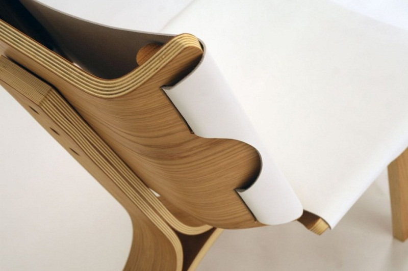 Kurven Chair made of Bent Plywood and Leather by Cody Stonerock 4