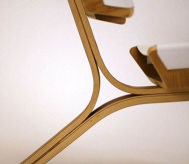 Kurven Chair made of Bent Plywood and Leather by Cody Stonerock 7