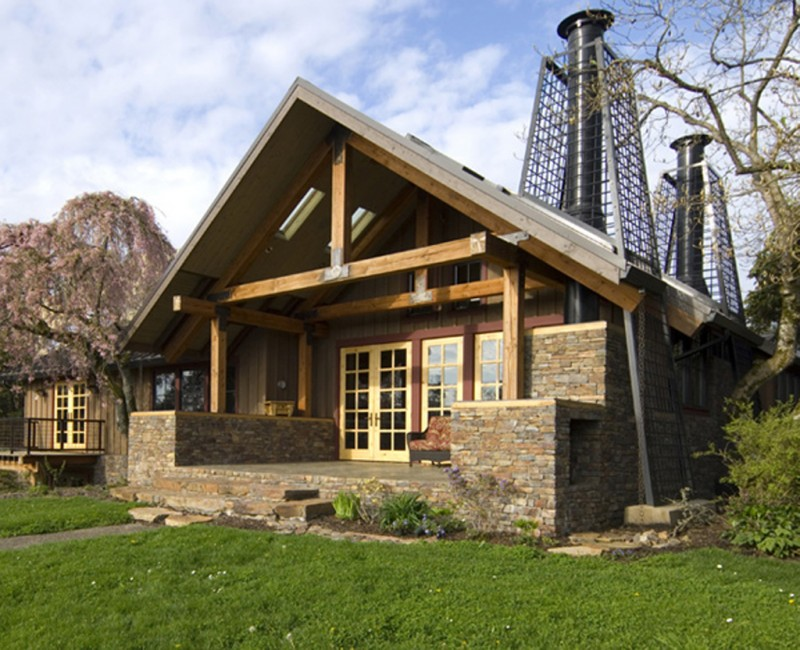 Rustic Cabin Style house with stone decoration 1
