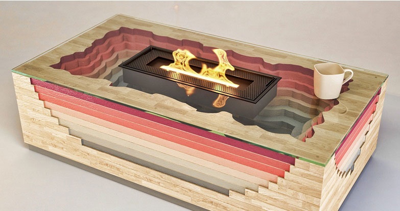 Terragen Coffee Table with built-in Fireplace 1
