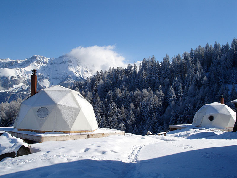 The Whitepod Resort in Swiss Alps Mountain 1
