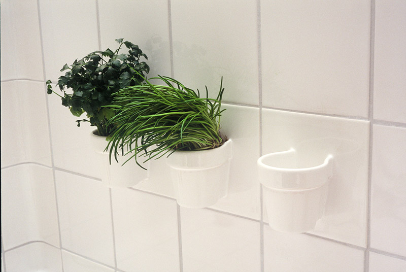 Functional Tiles with built-in plant pots by DTILE