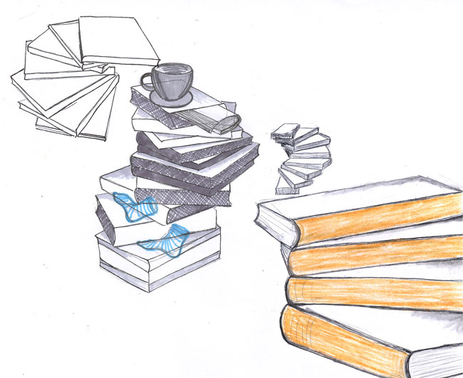 Pile of Books bedside table 4