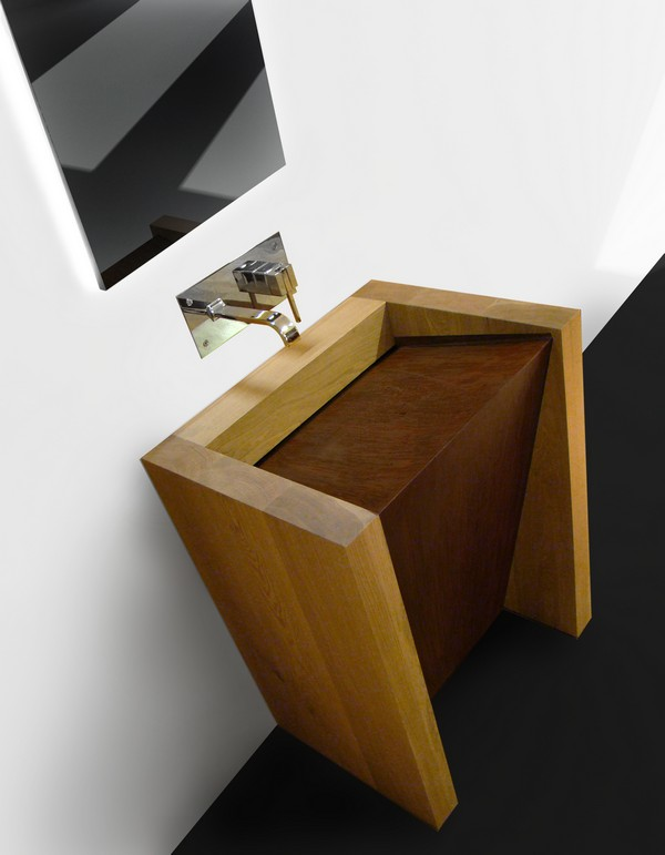 Solid Wood Bathroom Sink Corten 3