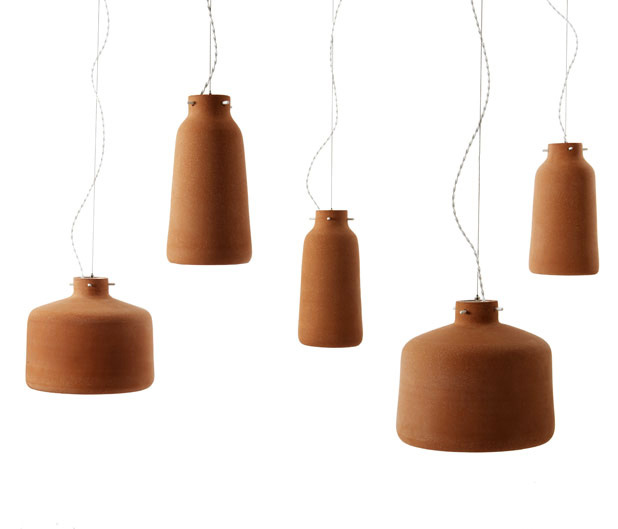 Chimney Clay Pendant Lamp by Benjamin Hubert 3