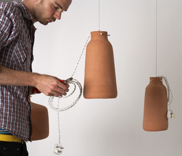Chimney Clay Pendant Lamp by Benjamin Hubert 5