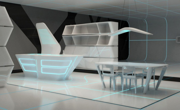 Kitchen and Dining area for TRON designs Corian 1