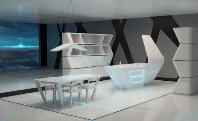 Kitchen and Dining area for TRON designs Corian 3