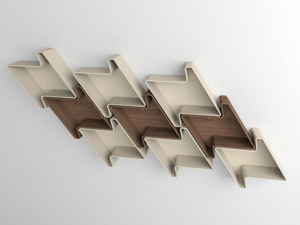 Pied-de-Poule Modular Wall Shelf System 1