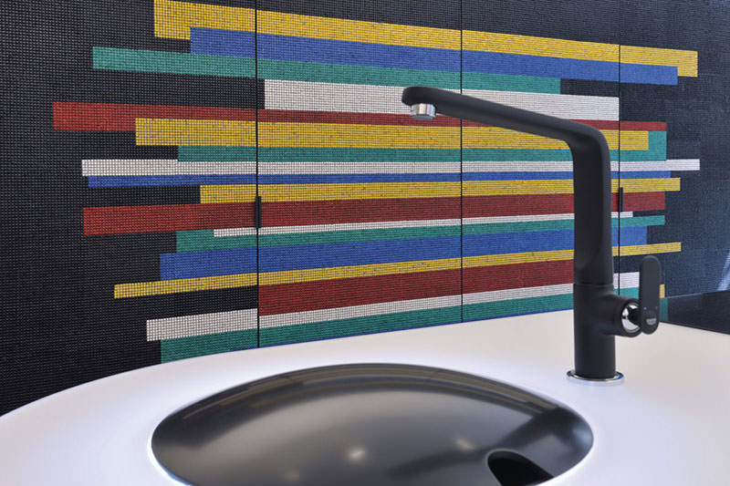 Colorful Kitchen makeover using Mosaic Tiles