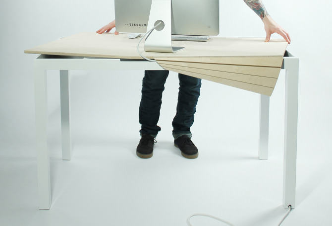Tambour Table with hidden storage by Michael Bambino