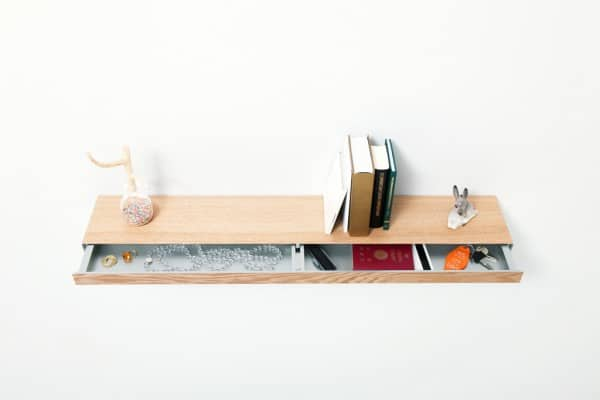 Clopen Wall Shelf cum Secret Drawer by Torafu Architects