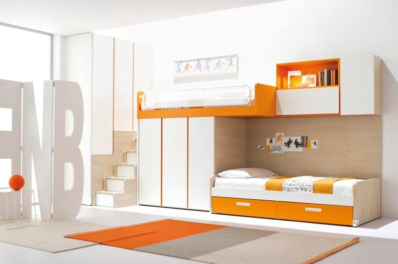 Orange and White Kids Loft Bed with Wardrobe and Ladder