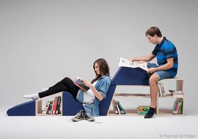 Rivolta transformable bench and book shelf