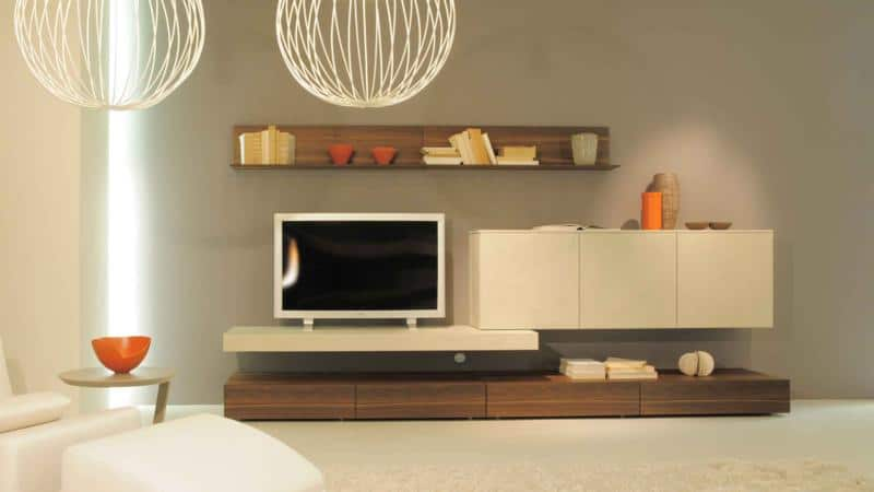 Minimal Living Room Design with Wooden Finish