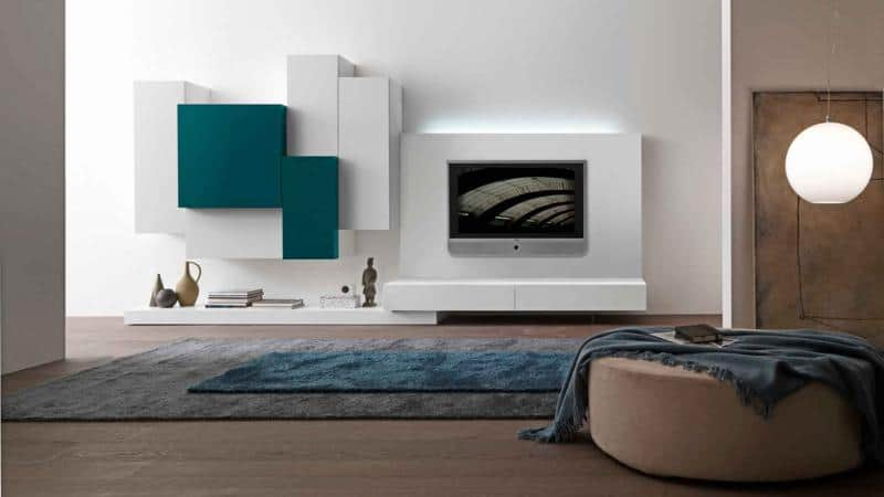 White and Green Living Room Furniture Design