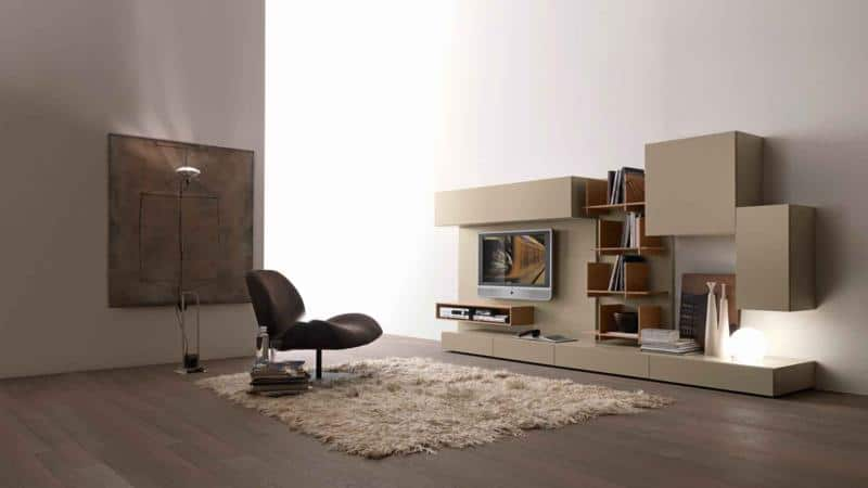 Modern Living Room Design with Book Library