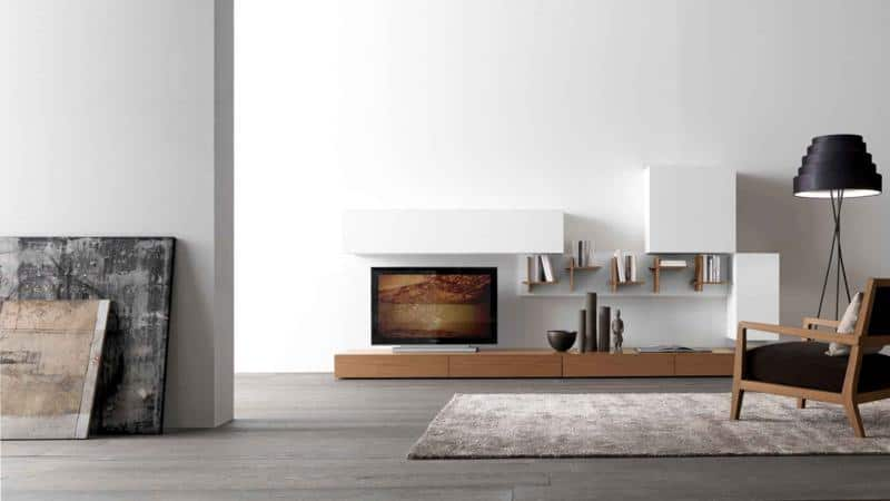 Minimal Wood-Finish Living Room Design with Bookshelf