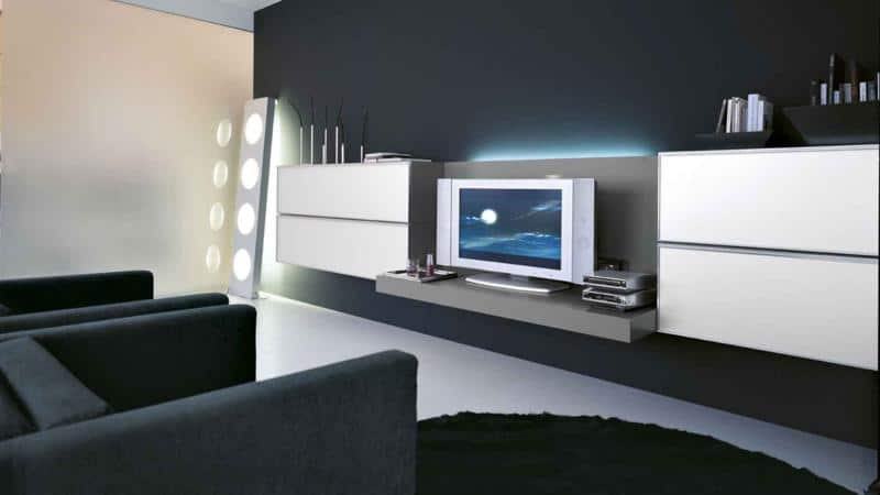 Modern White Living Room Furniture with TV