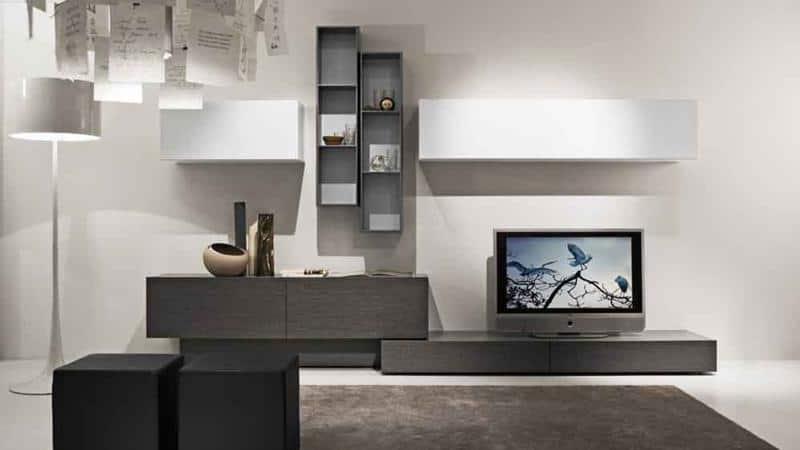 Modern Minimal White Grey Color Living Room Design