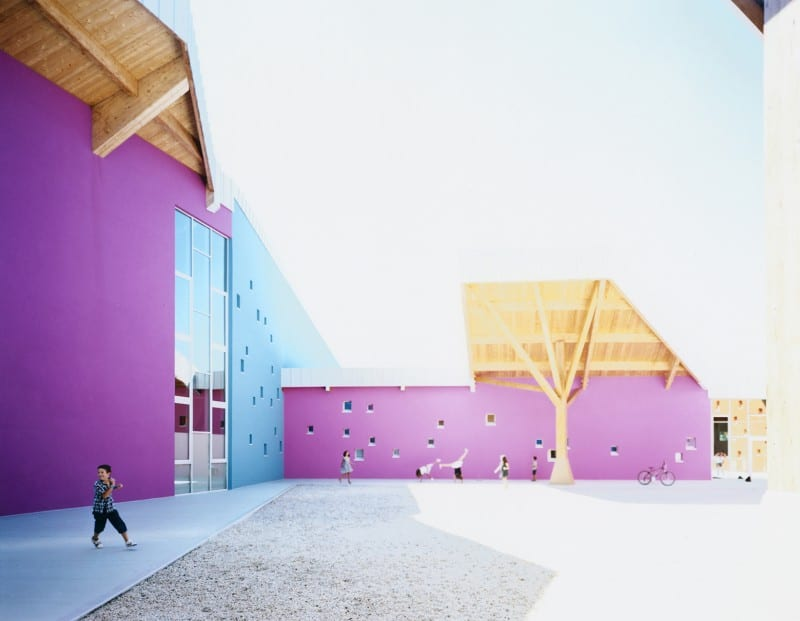Colorful school in Vicenza, Italy