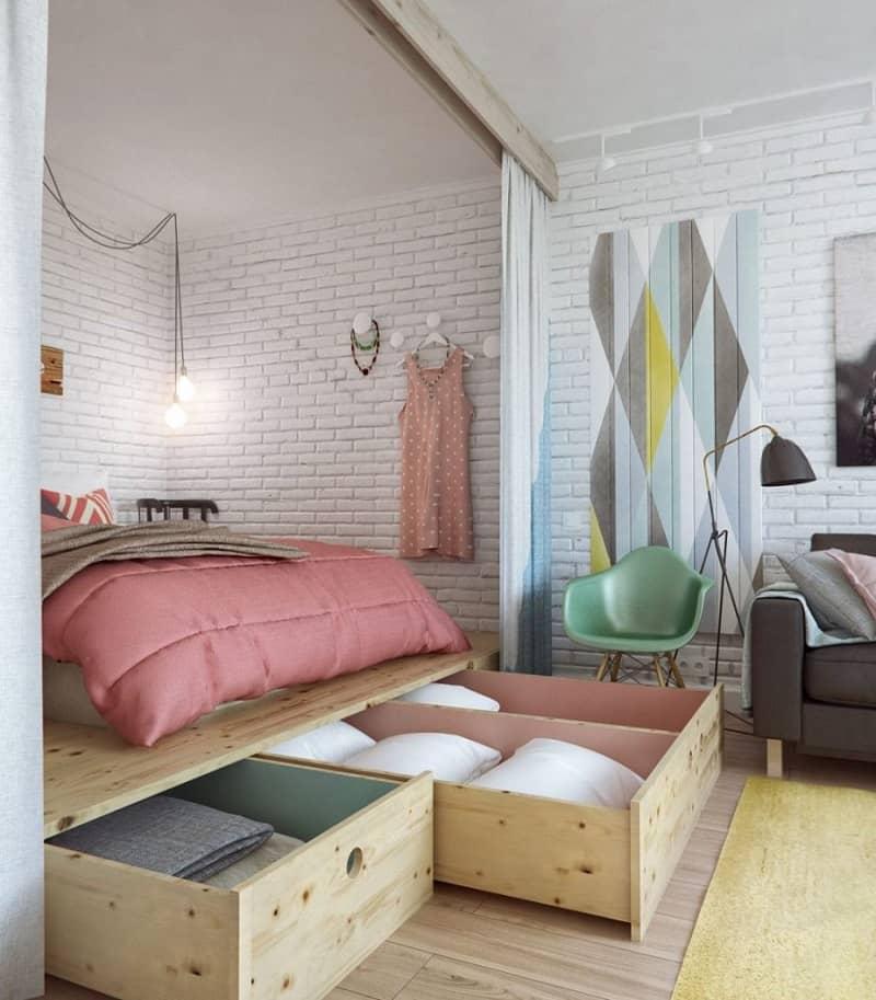 small comfortable apartment in pastel tones1