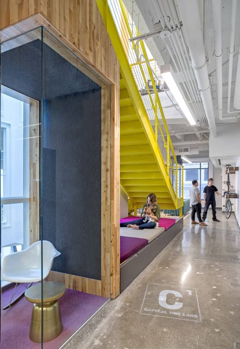 Colorful interior for the employees at Capital One Labs2