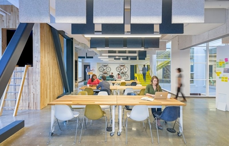 Colorful interior for the employees at Capital One Labs6