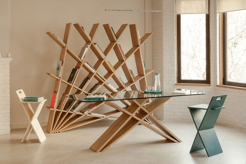 Creative sculptural bookshelf