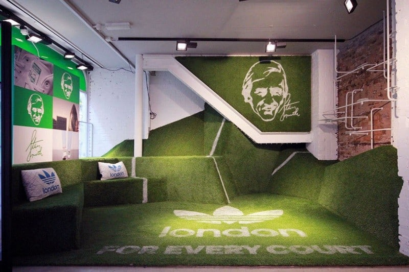 Adidas store decorated like a small tennis court