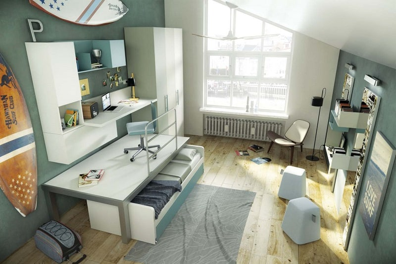 Modern bedrooms for youngsters with practical modular furniture2