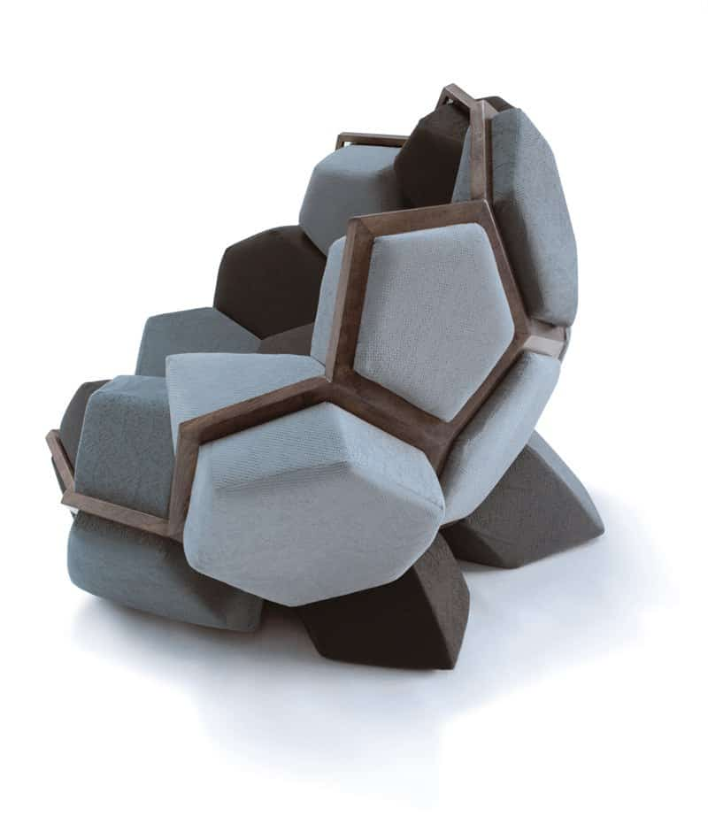 Playful armchair inspired by the shape of the crystals2