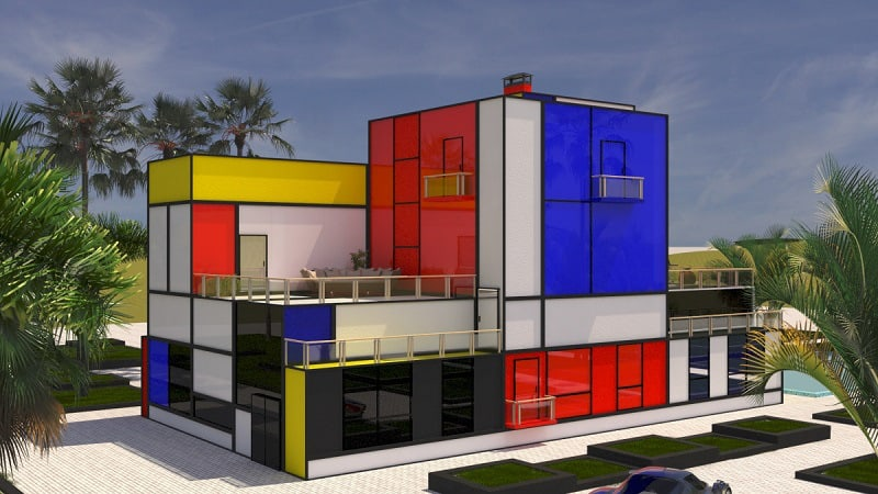 Villa inspired by Modrian's painting