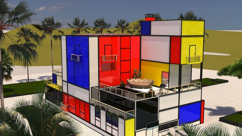 Villa inspired by Modrian's painting2