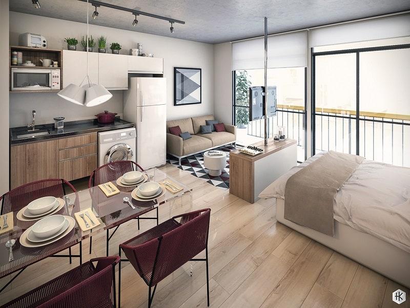 Pleasant mini-apartment with practical design