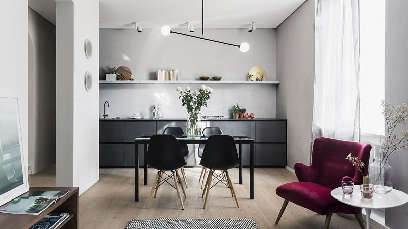 Apartment with a combination of Scandinavian minimalism and Italian elegance