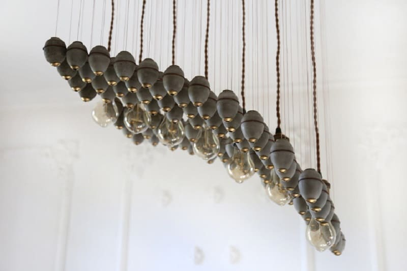 Extravagant chandelier made of concrete elements