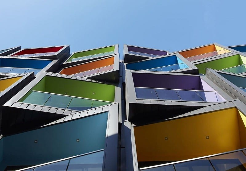 Spectrum Apartments - a residential building with colorful architectural character