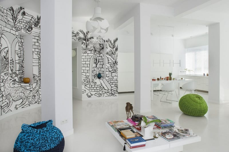 minimalist-interior-with-interesting-black-and-white-mural-in-warsaw2