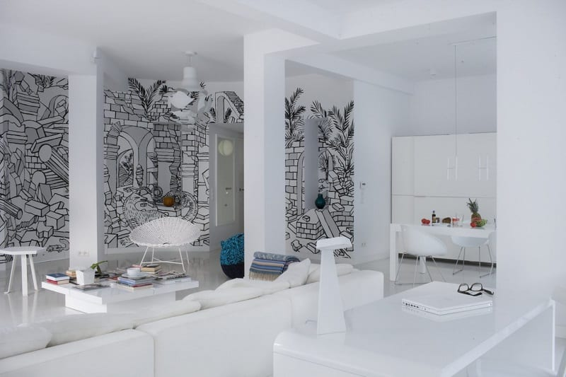 minimalist-interior-with-interesting-black-and-white-mural-in-warsaw4