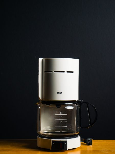 white and black coffeemaker