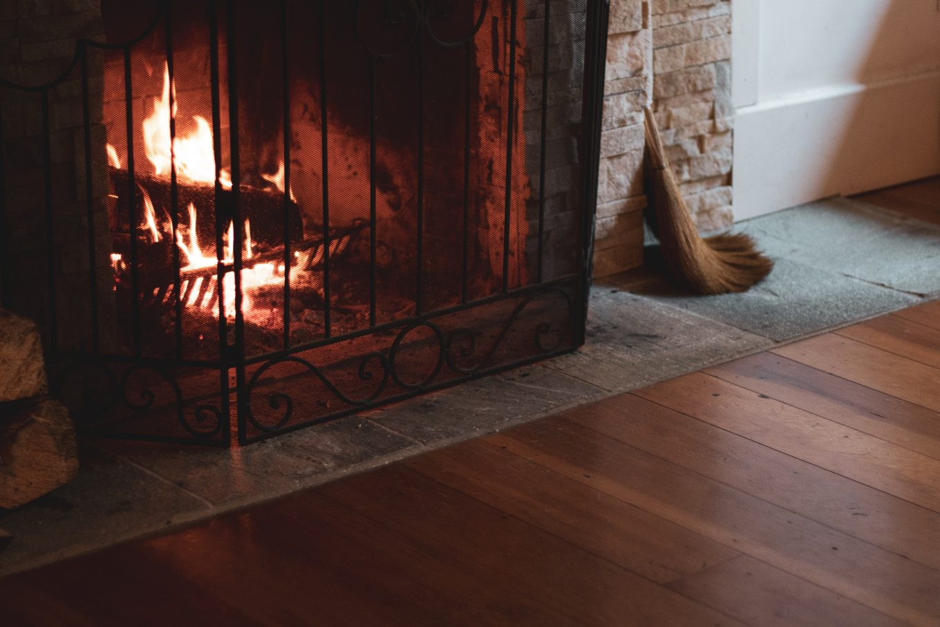 fireplace on fire