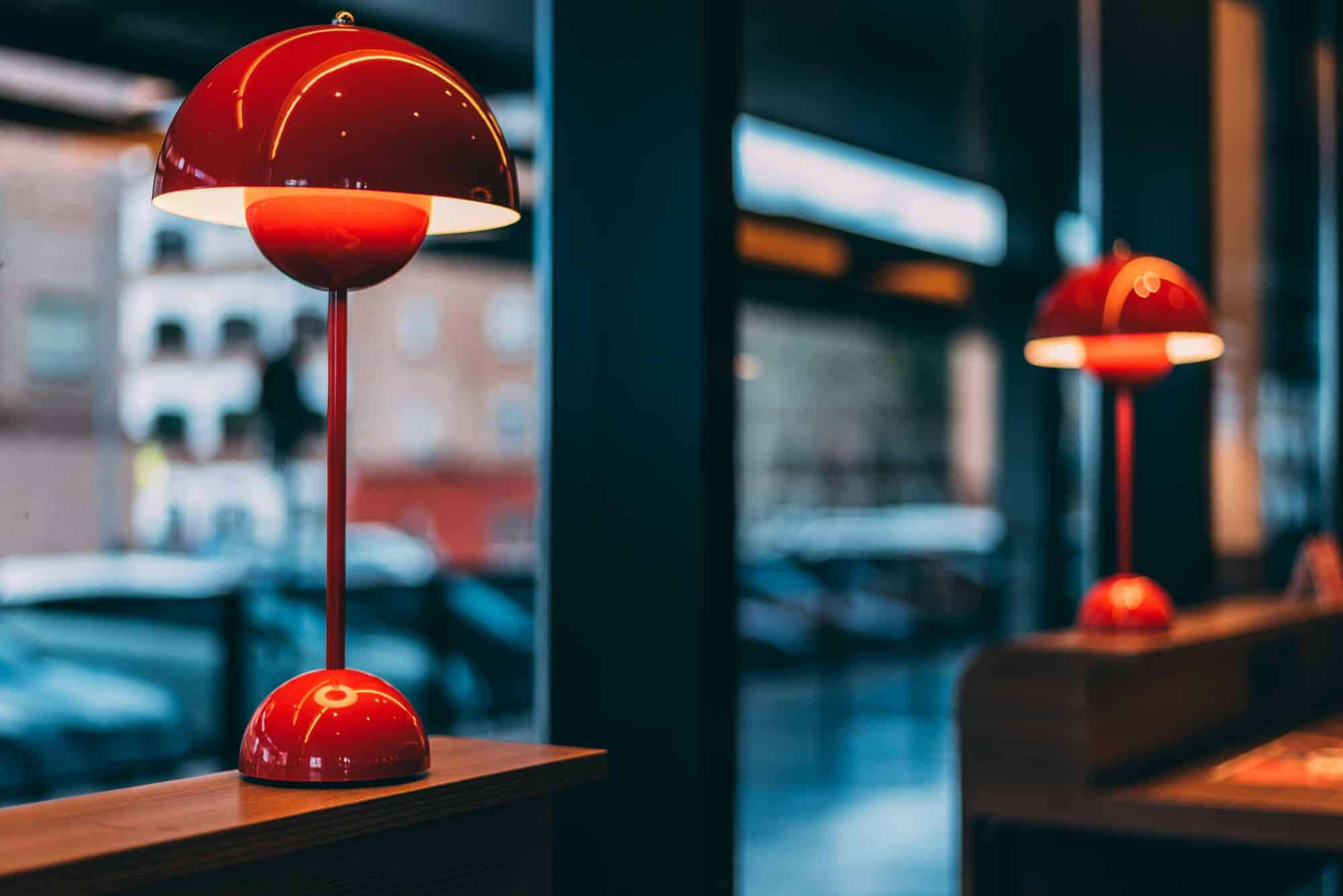 red table lamp in a coffee shop decoration